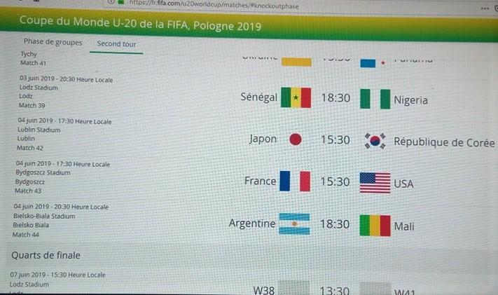CM U-20 Pologne 2019 : le tableau des 8èmes  équilibré